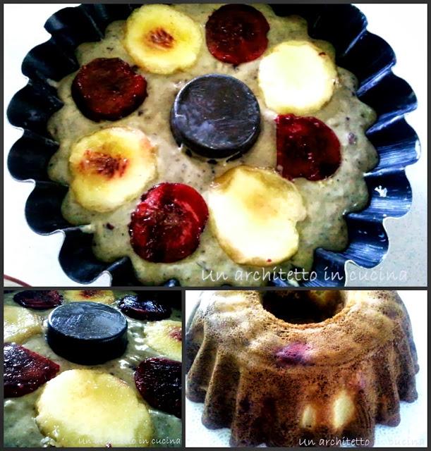 torta con pesche e pistacchio