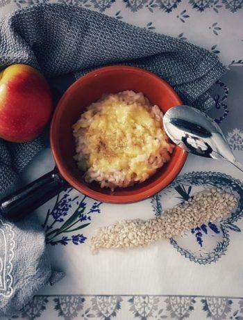 Risotto alle mele, porri e fonduta di Fontina Valdostana