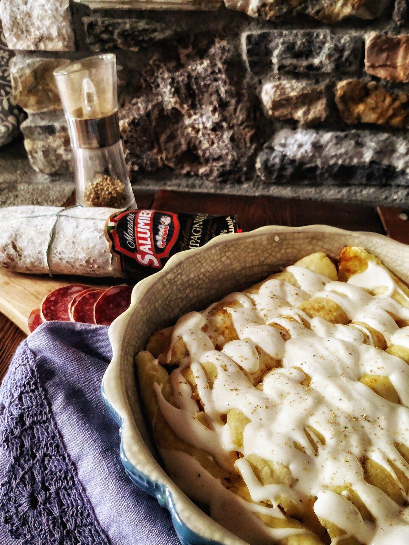 Crespelle farcite con mousse di salame campagnolo e Fontina