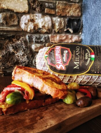 Pain Perdu salato farcito con Salame Milano, formaggi e verdure svuotafrigo